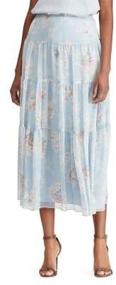 8010058d92 Lauren Ralph Lauren Floral Georgette Peasant A-Line Skirt