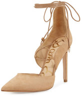 Sam Edelman Helaine Suede Lace-Up Pump, Golden Caramel