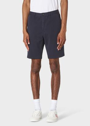 Paul Smith Men's Dark Navy Garment-Dyed Stretch Pima-Cotton Shorts