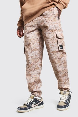 boohoo Mens Beige Twill Loose Fit Cargo Trouser With MAN Tab, Beige