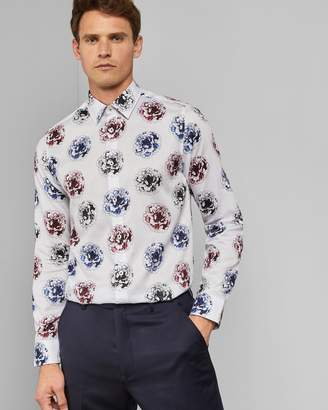Ted Baker Large Flower Print Cotton Shirt