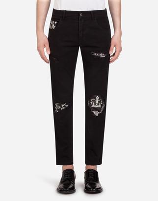 Dolce & Gabbana Stretch Skinny Jeans With Bandana Print Inserts