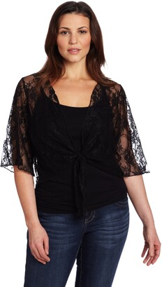 Star Vixen Women's Plus-Size 3/4 Sleeve Lace Tie Front Shrug Sweater