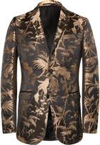 Gucci Black and Gold Slim-Fit Jacquard Tuxedo Jacket