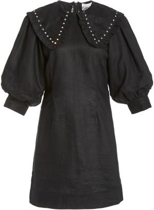Ganni Studded Linen Mini Dress