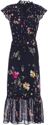 DKNY Fluted Tie-neck Floral-print Georgette Midi Dress