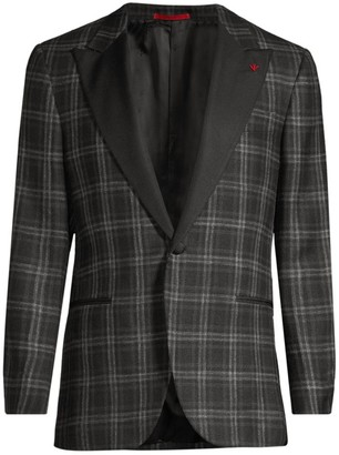 Isaia Plaid Single-Breasted Wool, Silk & Linen Dinner Jacket
