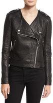 Diane von Furstenberg Tadessa Leather Biker Jacket, Black