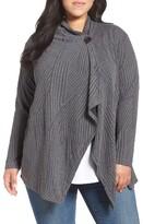 Bobeau Plus Size Women's One-Button Textured Cardigan