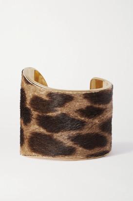 Saint Laurent Leopard-print Calf Hair And Gold-tone Cuff - Tan