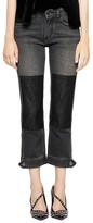 Zadig & Voltaire Eva Patchwork Cropped Jeans in Light Gray