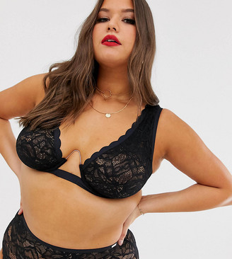 Figleaves Curve The Luxe lace bra with exposed wire in black
