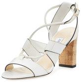 Jimmy Choo Margo Leather Crisscross 80mm Sandal, White