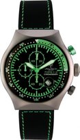 TP Men's 45 MM GREEN Aluminum Case Black and Green Dial Chronograph Tachymeter Date Watch