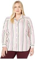 Foxcroft Plus Size Pandora Stretch Multi Stripe Tunic (Multi) Women's Clothing