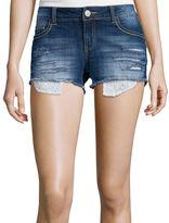 Vanilla Star Crochet-Trim Distressed Denim Shorts