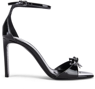 Saint Laurent Bea Bow Ankle Strap Sandals in Nero | FWRD
