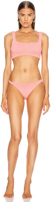 Hunza G Cropped Bikini Swimsuit in Peach | FWRD