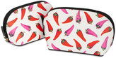 Kate Spade Hot Pepper-Print Abalene Cosmetic Bags Set