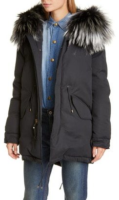 Mr & Mrs Italy Hooded Down Puffer Parka with Removable Genuine Fox Fur Trim