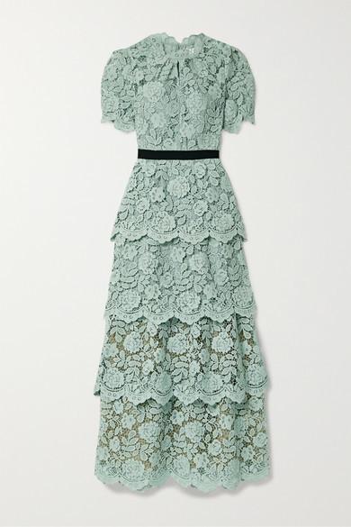 Self-Portrait Self Portrait Grosgrain-trimmed Tiered Corded Lace Maxi Dress - Mint