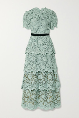 Self-Portrait Grosgrain-trimmed Tiered Corded Lace Maxi Dress - Mint