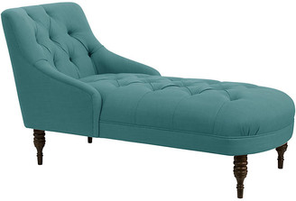 One Kings Lane Cindy Tufted Chaise - Teal Linen - frame, espresso; upholstery, teal