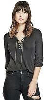 GUESS Women's Gemma Lace-Up Top