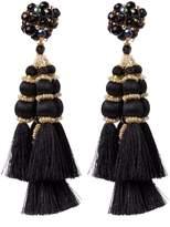 Casa Chiqui Embellished Tassel Earrings - Black