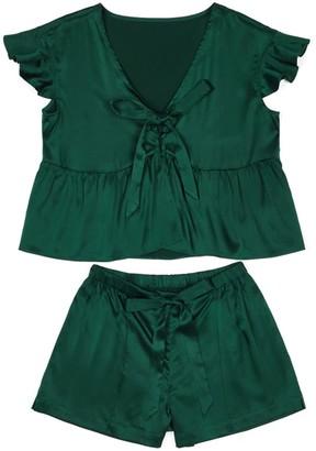 Not Just Pajama Elegant Silk Short Pyjamas Set - Dark Green