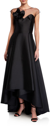 Sachin + Babi Blakely High-Low Stretch Mikado Illusion Gown