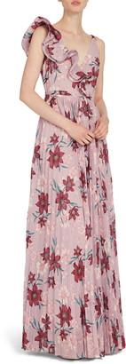 ML Monique Lhuillier Ruffle Shoulder Floral Chiffon Gown