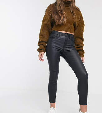 New Look Petite faux leather coated shaper jean in black