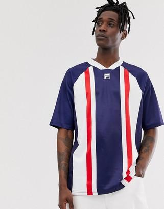 Fila Duke oversized stripe t-shirt in navy