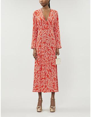 Rixo Sonja leaf-print crepe maxi-dress