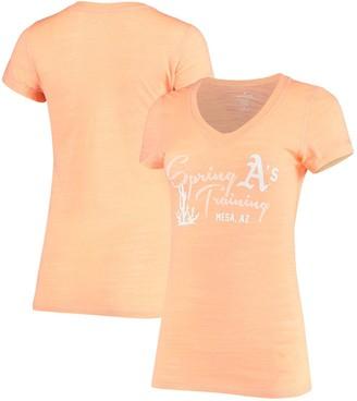 Women's Soft as a Grape Heathered Orange Oakland Athletics Spring Training Tri-Blend V-Neck T-Shirt