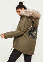Missguided Khaki Hooded Camouflage Detail Parka