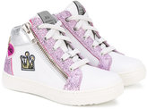 John Galliano glitter hi-top sneakers - kids - Leather/Foam Rubber - 25