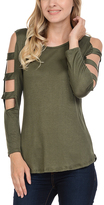 Celeste Olive Cutout-Sleeve Tunic - Plus
