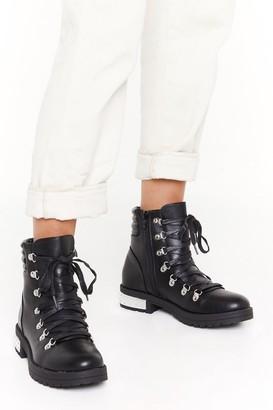 Nasty Gal Womens PU Metal Heel Detail D Ring Hiker Boots - Black - 3