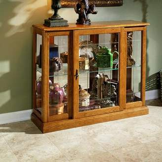 Darby Home Co Purvoche Lighted Curio Cabinet Color: Golden Oak