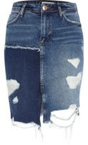 River Island Womens Mid blue distressed patchwork denim skirt