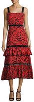Prabal Gurung Printed Eyelet Ruffle-Layer Dress, Red