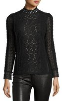 Rebecca Taylor Embellished Lace Mock-Neck Top