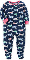 Carter's 1-Pc. Dog-Print Footed Fleece Pajamas, Baby Girls (0-24 months)