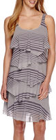 Robbie Bee Sleeveless Abstract Stripe Tiered Shift Dress