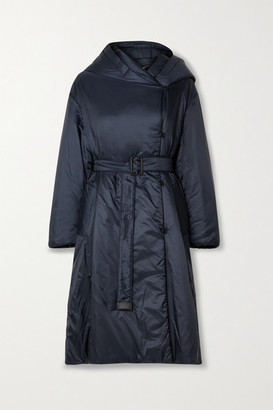 Max Mara The Cube Cameluxe Belted Hooded Padded Shell Coat - Midnight blue