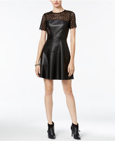 Bar III Contrast Faux-Leather Fit & Flare Dress, Only at Macy's