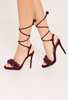 Missguided Berry Red Pom Pom Wrap Around Heeled Sandals