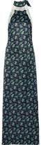 House of Holland Lace-Trimmed Floral-Print Satin Halterneck Maxi Dress